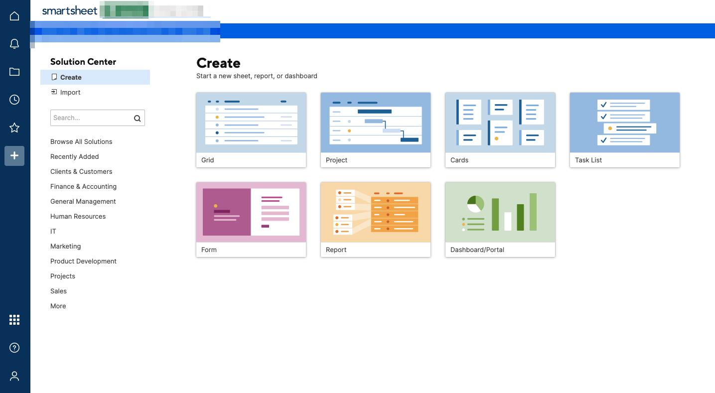 Smartsheet Solution Center Screenshot