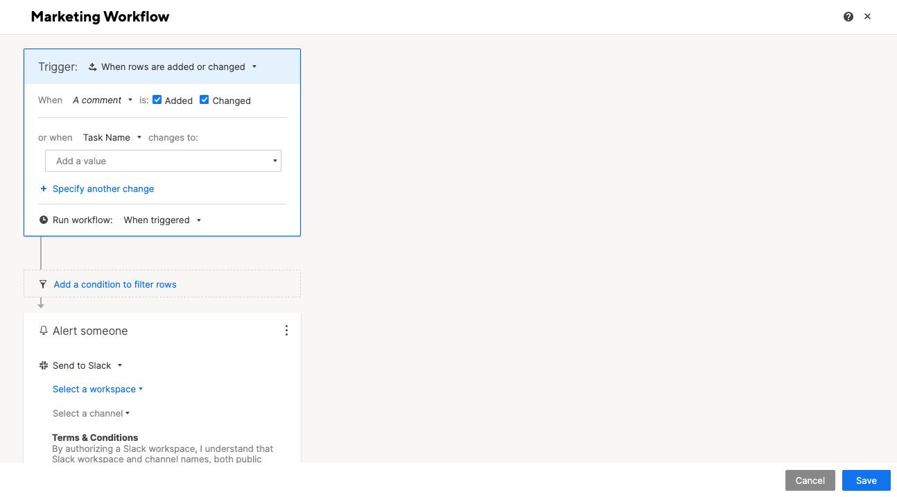 Smartsheet Custom Workflow Automation Screenshot