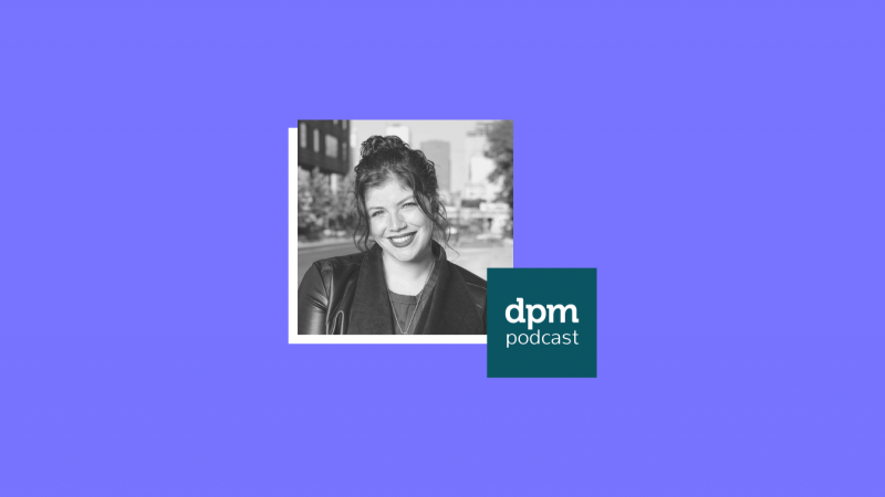 photo of Samantha Schak on a purple background with the DPM podcast logo