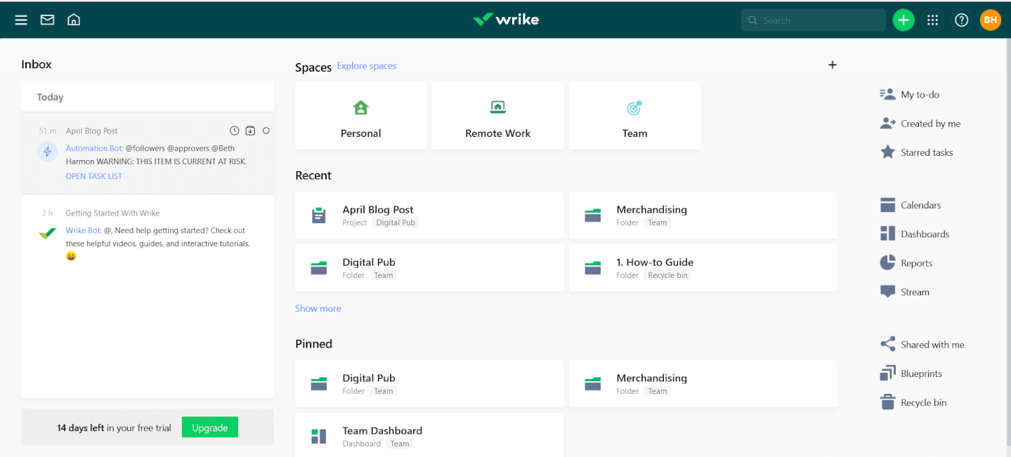 Wrike screenshot - 5 Best Hive Alternatives Compared Through An Objective Review
