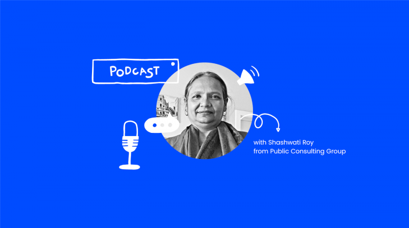 photo of Shashwati Roy on a blue background with doodles for microphones and speakers